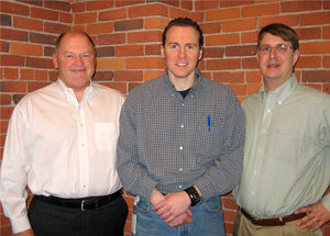 Bob Miller (Sr VP of Clarks Companies Retail), Ryan Toomey (current First Step Intern and Triangle Client), and Henry Winkelman Photo credit: Clarks
