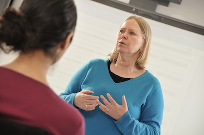Mariette Bates, Academic Director of the CUNY Disabilities Studies program, teaches a class