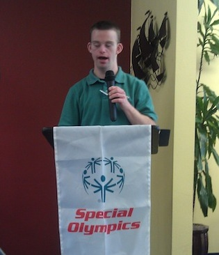 Tim Harris speaking as a Special Olympics Global Messenger.