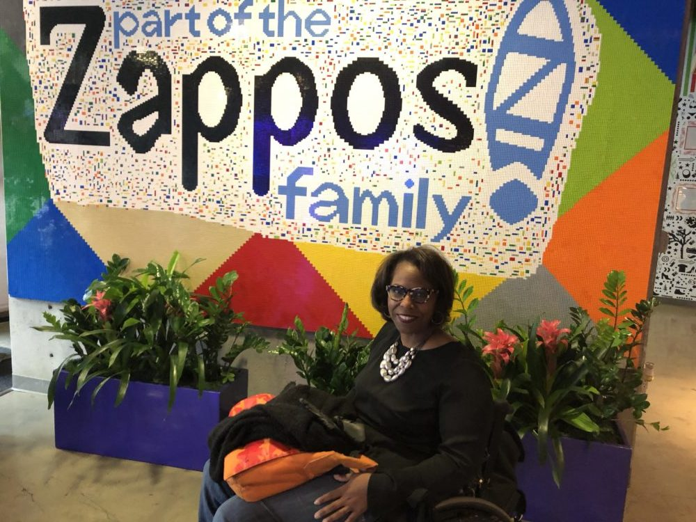 Carmen Jones visiting the Zappos headquarters