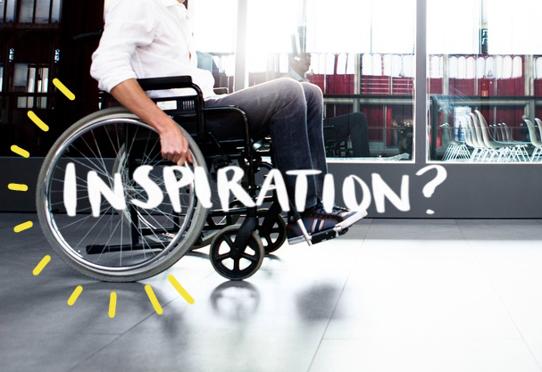"Man in wheelchair with text that reads ""Inspiration?"""